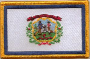 West Virginia Embroidered Flag Patch, style 08.